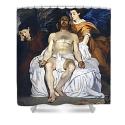 The Dead Christ With Angels Shower Curtain by Edouard Manet