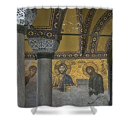 The Deesis Mosaic At Hagia Sophia Shower Curtain by Ayhan Altun