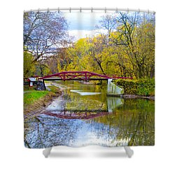 The Delaware Canal Near New Hope Pa In Autumn Shower Curtain
