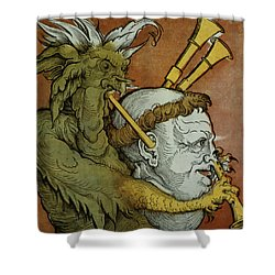 The Devil Shower Curtain by Eduard Schoen