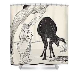 The Djinn In Charge Of All Deserts Guiding The Magic With His Magic Fan Shower Curtain by Joseph Rudyard Kipling