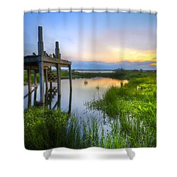 The Dock Shower Curtain by Debra and Dave Vanderlaan