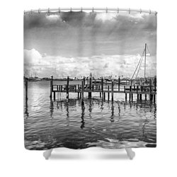 The Dock Shower Curtain by Howard Salmon