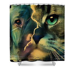 Shower Curtain featuring the digital art The Dog Connection -green by Kathy Tarochione