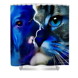 Shower Curtain featuring the digital art We All Connect by Kathy Tarochione