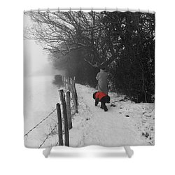 Shower Curtain featuring the photograph The Dog In The Red Coat by Vicki Spindler