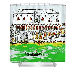 Shower Curtain featuring the painting The Doge's Palace by Loredana Messina