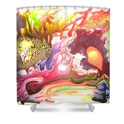 Shower Curtain featuring the painting The Dragon by Lucy Matta