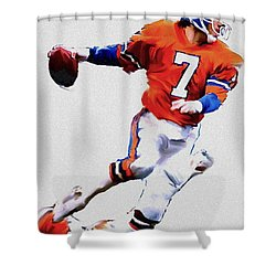 The Drive  John Elway Shower Curtain by Iconic Images Art Gallery David Pucciarelli