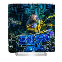 The Drummer Shower Curtain by David Morefield