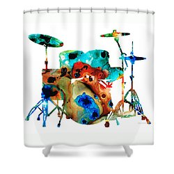 The Drums - Music Art By Sharon Cummings Shower Curtain by Sharon Cummings