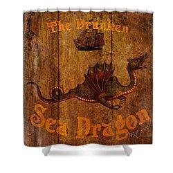 The Drunken Sea Dragon Pub Sign Shower Curtain by Cinema Photography