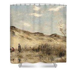The Dunes Of Dunkirk Shower Curtain by Jean Baptiste Camille Corot