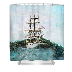 The Eagle Squared Shower Curtain by Marianne Campolongo
