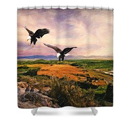 Shower Curtain featuring the digital art The Eagle Will Rise Again by Lianne Schneider