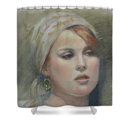The Earring Shower Curtain by Sarah Parks