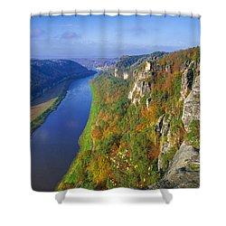 The Elbe Sandstone Mountains Along The Elbe River Shower Curtain