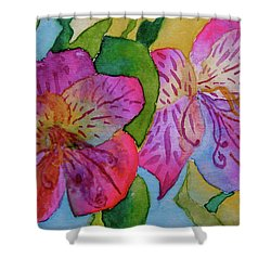The Electric Kool-aid Alstroemeria Test Shower Curtain by Beverley Harper Tinsley
