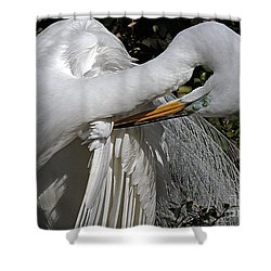 The Elegant Egret Shower Curtain by Lydia Holly