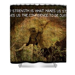 Shower Curtain featuring the digital art The Elephant - Inner Strength by Absinthe Art By Michelle LeAnn Scott