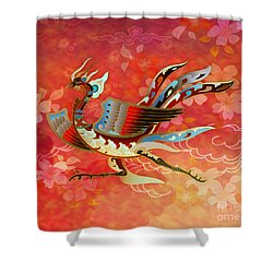 The Empress - Flight Of Phoenix - Red Version Shower Curtain by Bedros Awak