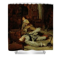 The End Of The Game Of Cards Shower Curtain by Jean Louis Ernest Meissonier