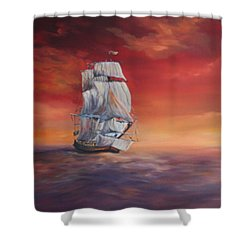The Endeavour On Calm Seas Shower Curtain by Jean Walker