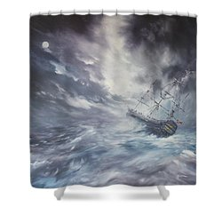 The Endeavour On Stormy Seas Shower Curtain by Jean Walker