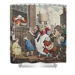 The Enraged Musician, Illustration Shower Curtain by William Hogarth