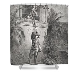 The Escape Of David Through The Window Shower Curtain by Gustave Dore