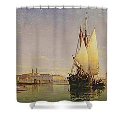 The Euganean Hills And The Laguna Of Venice - Trabaccola Waiting For The Tide Sunset Shower Curtain by Edward William Cooke