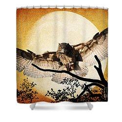 The Eurasian Eagle Owl And The Moon Shower Curtain