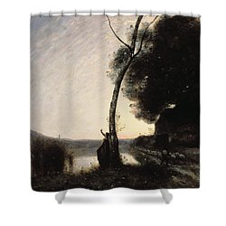 The Evening Star Shower Curtain by Jean Baptiste Camille Corot