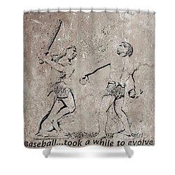 The Evolution Of Baseball Shower Curtain by John Malone