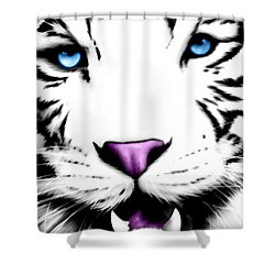 The Eye Of The White Tiger Shower Curtain by Gina Dsgn