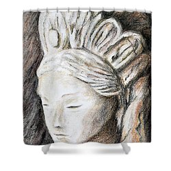 The Face Of Quan Yin Shower Curtain by Danuta Bennett