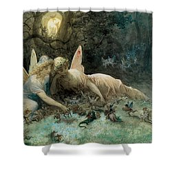 The Fairies From William Shakespeare Scene Shower Curtain by Gustave Dore