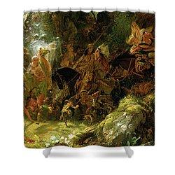 The Fairy Raid Shower Curtain by Sir Joseph Noel Paton