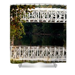 Shower Curtain featuring the photograph The Falls Bridge by Christopher Woods