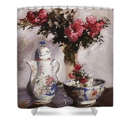 The Famille Rose Coffee Pot Shower Curtain by Francis Campbell Boileau Cadell