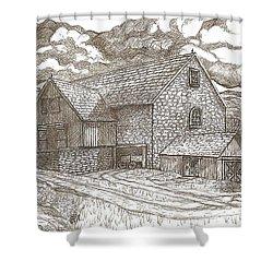 The Family Farm - Sepia Ink Shower Curtain by Carol Wisniewski