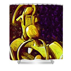 The Family Unit In Gold Shower Curtain by Kirt Tisdale