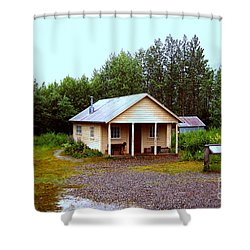 The Famous Cabin Of Fannie Quigley Shower Curtain by Kathy  White