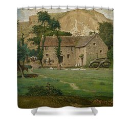 The Farm House Shower Curtain by Jean Francois Millet