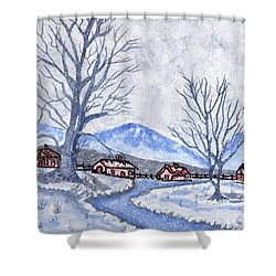 The Farm Life Shower Curtain by Connie Valasco