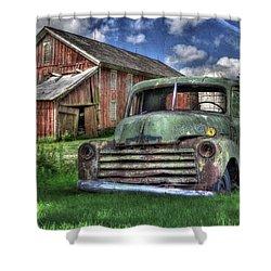 The Farm Truck Shower Curtain by Lori Deiter
