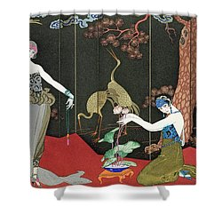 The Fashion For Lacquer Shower Curtain by Georges Barbier
