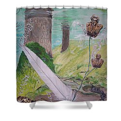 Shower Curtain featuring the painting The Feather And The Word La Pluma Y La Palabra by Lazaro Hurtado