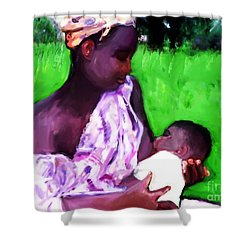 Shower Curtain featuring the painting The Feeding 2 by Vannetta Ferguson