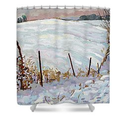 The Fence Line Shower Curtain by Phil Chadwick